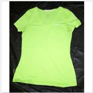 Nike Pro Dri Fit Short Sleeve V-Neck Top T-Shirt